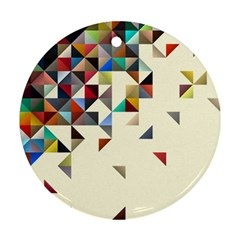 Retro Pattern Of Geometric Shapes Round Ornament (two Sides) by BangZart
