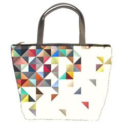 Retro Pattern Of Geometric Shapes Bucket Bags