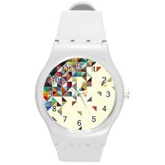 Retro Pattern Of Geometric Shapes Round Plastic Sport Watch (m)