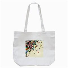 Retro Pattern Of Geometric Shapes Tote Bag (white)