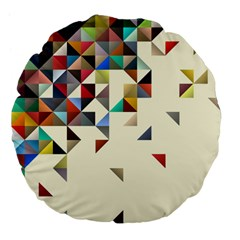 Retro Pattern Of Geometric Shapes Large 18  Premium Flano Round Cushions