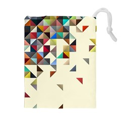 Retro Pattern Of Geometric Shapes Drawstring Pouches (extra Large)