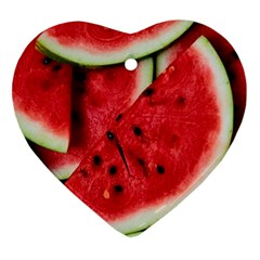 Fresh Watermelon Slices Texture Ornament (heart)
