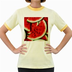 Fresh Watermelon Slices Texture Women s Fitted Ringer T Shirts by BangZart