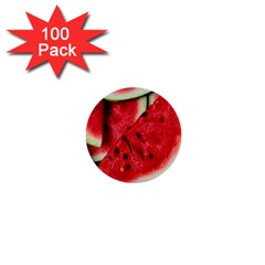 Fresh Watermelon Slices Texture 1  Mini Buttons (100 Pack)