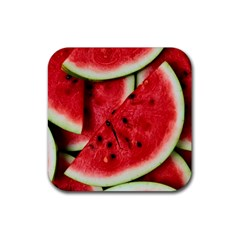 Fresh Watermelon Slices Texture Rubber Square Coaster (4 Pack)