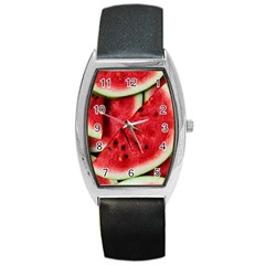 Fresh Watermelon Slices Texture Barrel Style Metal Watch