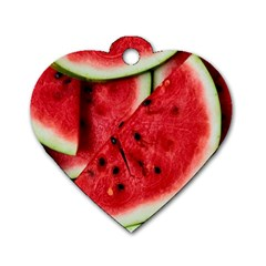 Fresh Watermelon Slices Texture Dog Tag Heart (one Side) by BangZart