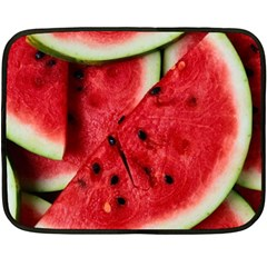 Fresh Watermelon Slices Texture Fleece Blanket (mini) by BangZart