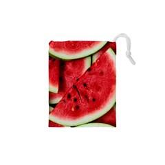 Fresh Watermelon Slices Texture Drawstring Pouches (xs)