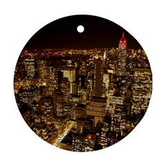 New York City At Night Future City Night Ornament (round) by BangZart