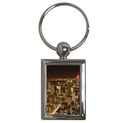 New York City At Night Future City Night Key Chains (rectangle)