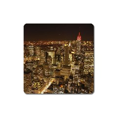 New York City At Night Future City Night Square Magnet