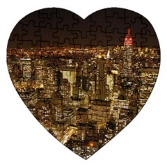 New York City At Night Future City Night Jigsaw Puzzle (heart) by BangZart