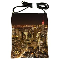 New York City At Night Future City Night Shoulder Sling Bags