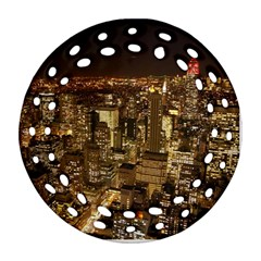 New York City At Night Future City Night Round Filigree Ornament (two Sides) by BangZart