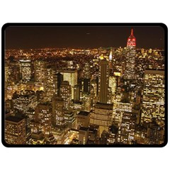 New York City At Night Future City Night Double Sided Fleece Blanket (large)