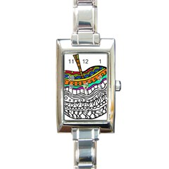 Abstract Apple Art Colorful Rectangle Italian Charm Watch