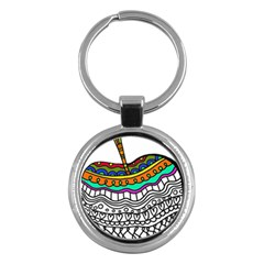 Abstract Apple Art Colorful Key Chains (round)