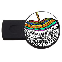 Abstract Apple Art Colorful Usb Flash Drive Round (2 Gb)