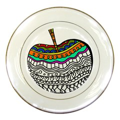 Abstract Apple Art Colorful Porcelain Plates by Nexatart