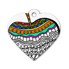 Abstract Apple Art Colorful Dog Tag Heart (two Sides) by Nexatart