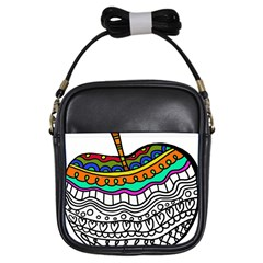 Abstract Apple Art Colorful Girls Sling Bags