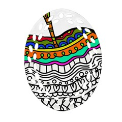 Abstract Apple Art Colorful Oval Filigree Ornament (two Sides)