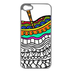 Abstract Apple Art Colorful Apple Iphone 5 Case (silver)