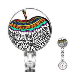 Abstract Apple Art Colorful Stainless Steel Nurses Watch