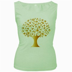 Abstract Book Floral Food Icons Women s Green Tank Top