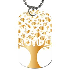 Abstract Book Floral Food Icons Dog Tag (one Side)