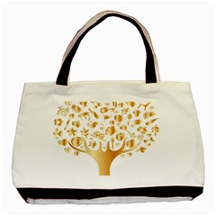 Abstract Book Floral Food Icons Basic Tote Bag (two Sides) by Nexatart