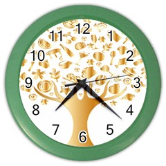 Abstract Book Floral Food Icons Color Wall Clocks