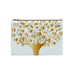 Abstract Book Floral Food Icons Cosmetic Bag (medium)  by Nexatart