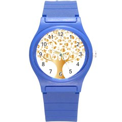 Abstract Book Floral Food Icons Round Plastic Sport Watch (s)