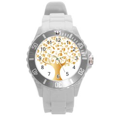 Abstract Book Floral Food Icons Round Plastic Sport Watch (l) by Nexatart