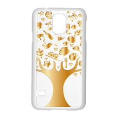 Abstract Book Floral Food Icons Samsung Galaxy S5 Case (white)