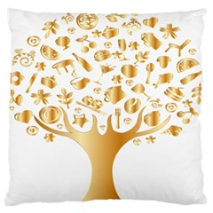 Abstract Book Floral Food Icons Large Flano Cushion Case (one Side) by Nexatart