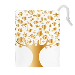 Abstract Book Floral Food Icons Drawstring Pouches (extra Large)