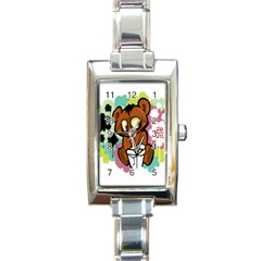 Bear Cute Baby Cartoon Chinese Rectangle Italian Charm Watch