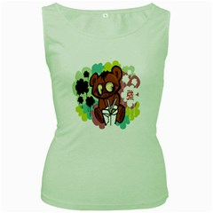 Bear Cute Baby Cartoon Chinese Women s Green Tank Top
