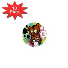 Bear Cute Baby Cartoon Chinese 1  Mini Magnet (10 Pack)