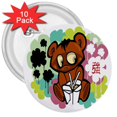 Bear Cute Baby Cartoon Chinese 3  Buttons (10 Pack)