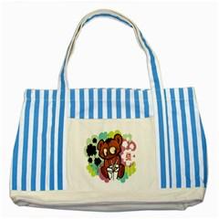Bear Cute Baby Cartoon Chinese Striped Blue Tote Bag