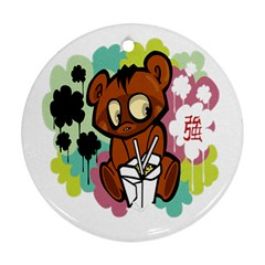 Bear Cute Baby Cartoon Chinese Round Ornament (two Sides) by Nexatart