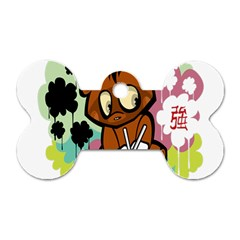 Bear Cute Baby Cartoon Chinese Dog Tag Bone (two Sides) by Nexatart
