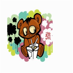 Bear Cute Baby Cartoon Chinese Small Garden Flag (two Sides) by Nexatart