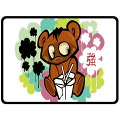 Bear Cute Baby Cartoon Chinese Double Sided Fleece Blanket (large)