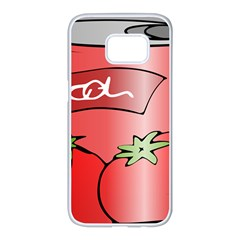 Beverage Can Drink Juice Tomato Samsung Galaxy S7 Edge White Seamless Case by Nexatart